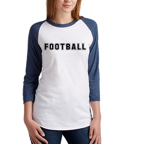 Football Design Raglan- Tultex 245- White/Navy