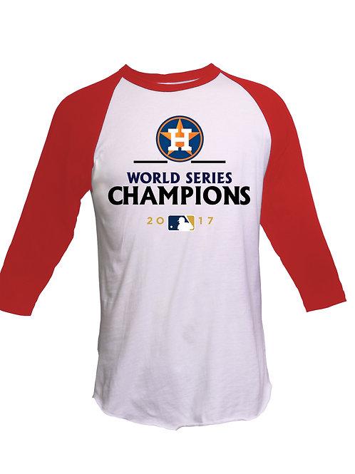 Houston Astros Champions- Raglan Tee- White/Red
