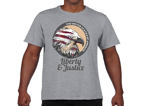 Liberty and Justice- Memorial Day Tee- Grey
