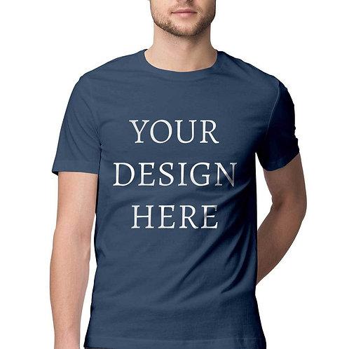 Men's Personalised Navy Blue Half Sleeve T-Shirt