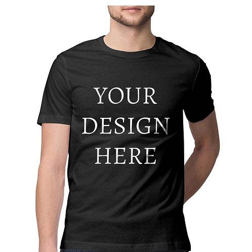 Men's Personalised Black Half Sleeve T-Shirt