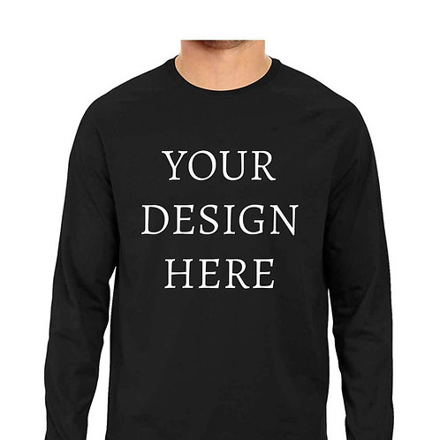 Men's Personalised Black Full Sleeve T-Shirt
