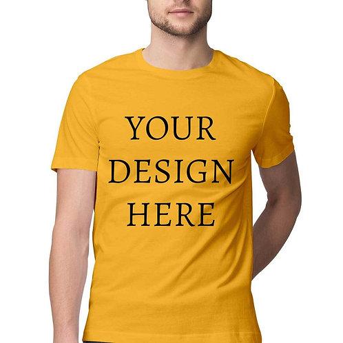 Men's Personalised Golden Yellow Half Sleeve T-Shirt