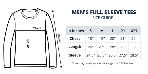 Size Guide of Men's Full Sleeve Tees