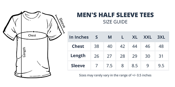Size Guide of Men's Half Sleeve Tees