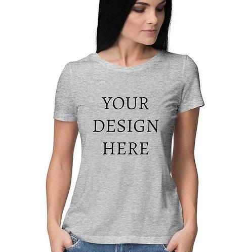 Women's Personalised Melange Grey T-Shirt