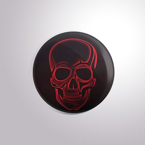 Red Skull Button Badge