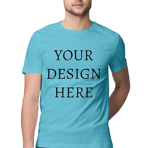 Men's Personalised Sky Blue Half Sleeve T-Shirt