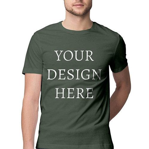 Men's Personalised Olive Green Half Sleeve T-Shirt