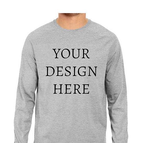 Men's Personalised Melange Grey Full Sleeve T-Shirt