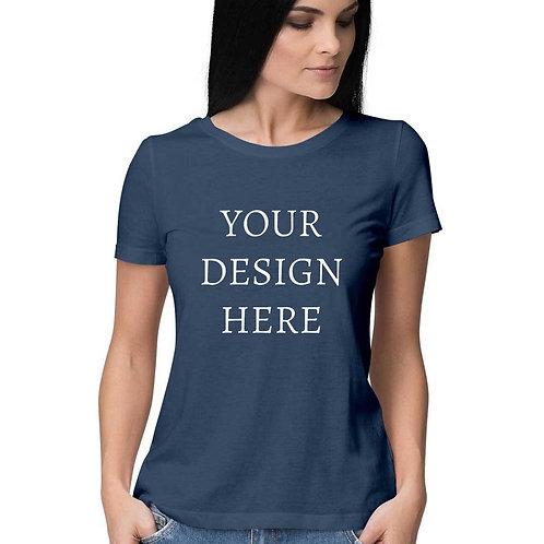 Women's Personalised Navy Blue T-Shirt