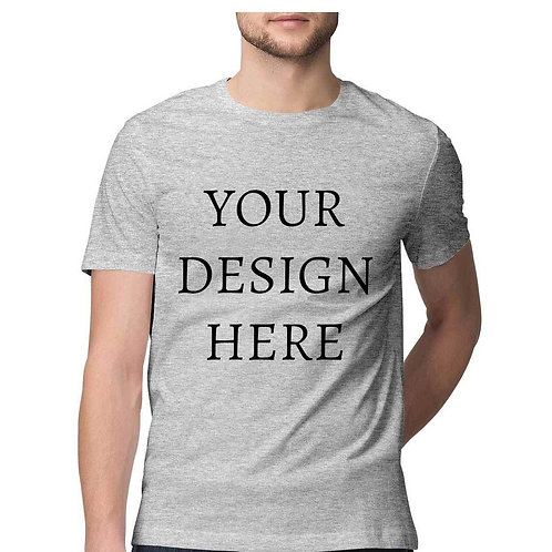 Men's Personalised Melange Grey Half Sleeve T-Shirt