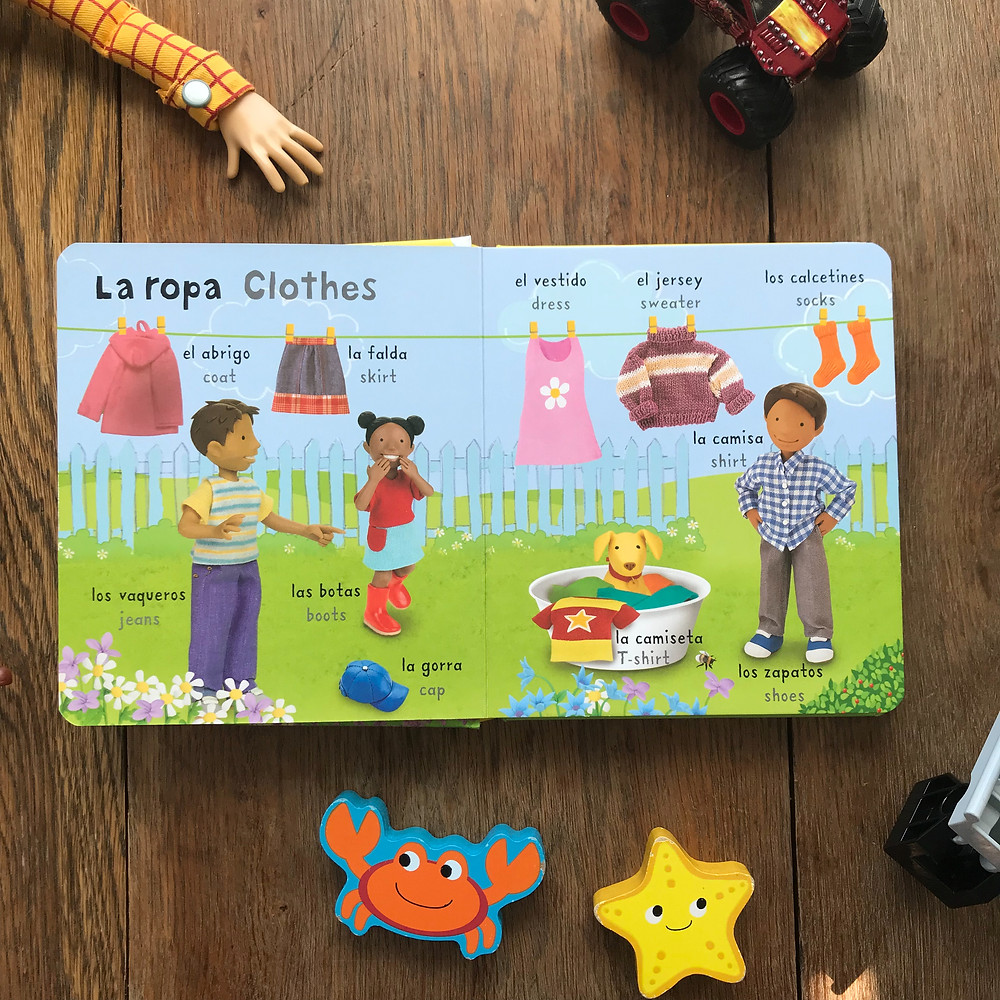 very first words in spanish, board, book