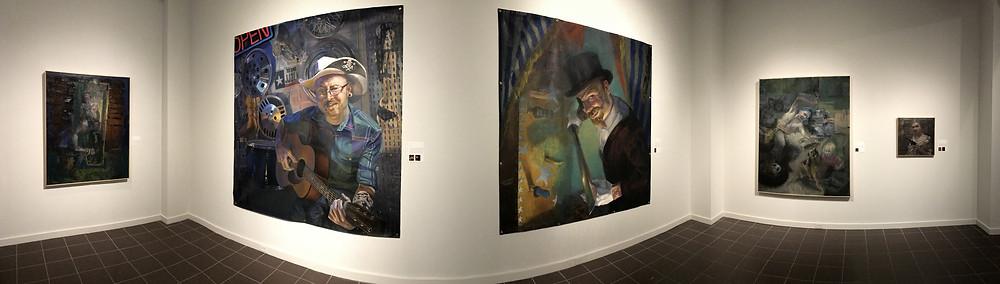 Panorama of part of the exhibit Rebels & Renegades, artist Shaun Roberts