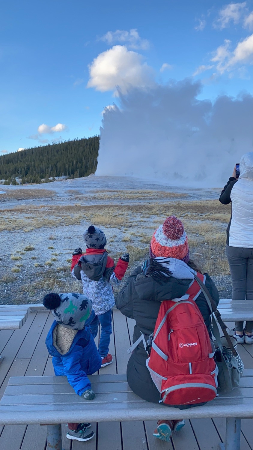 Old Faithful, Yellowstone, geyser, road trip, toddlers, mom