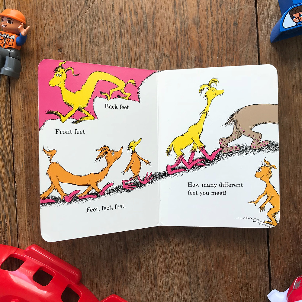 The Foot Book, Dr. Seuss, board book, book, read, reading, toddler, kid, baby, mom blog