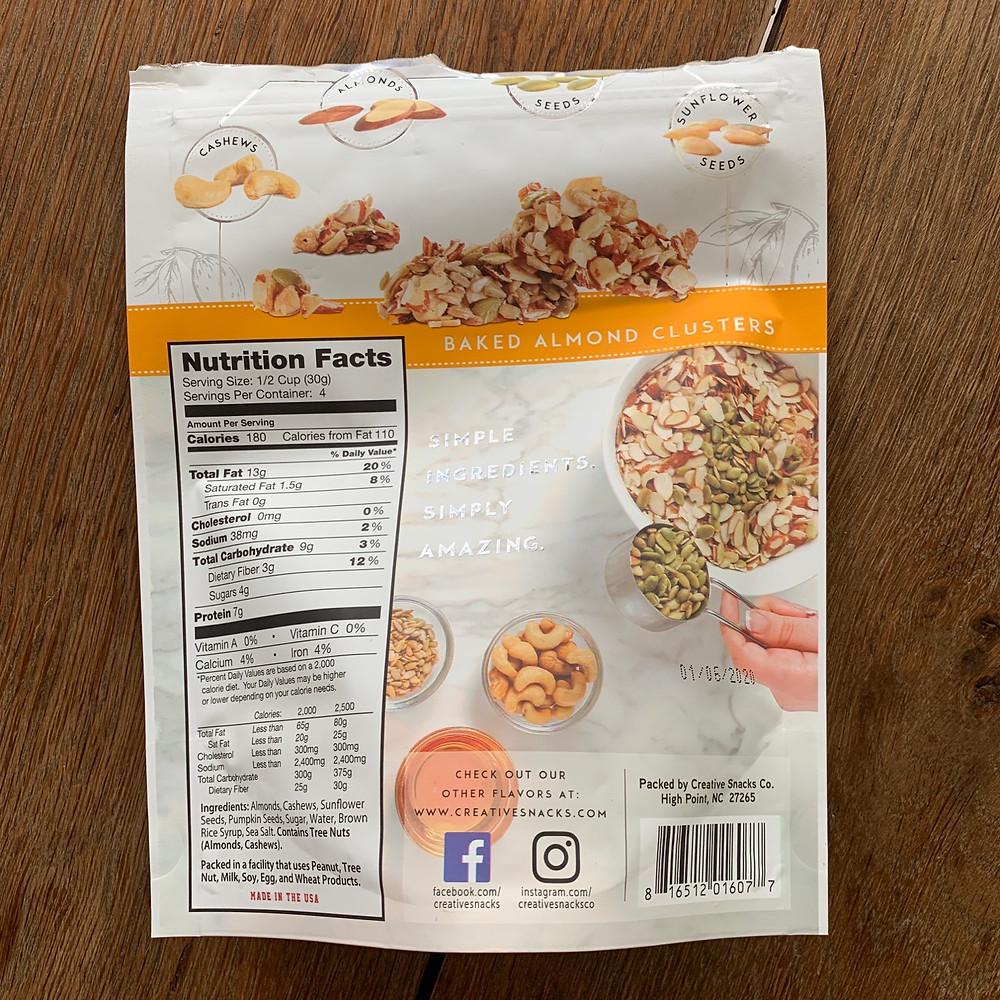Almond clusters, sunflower seeds, cashews, pumpkin seeds, creative, snack, co, creative snacks co