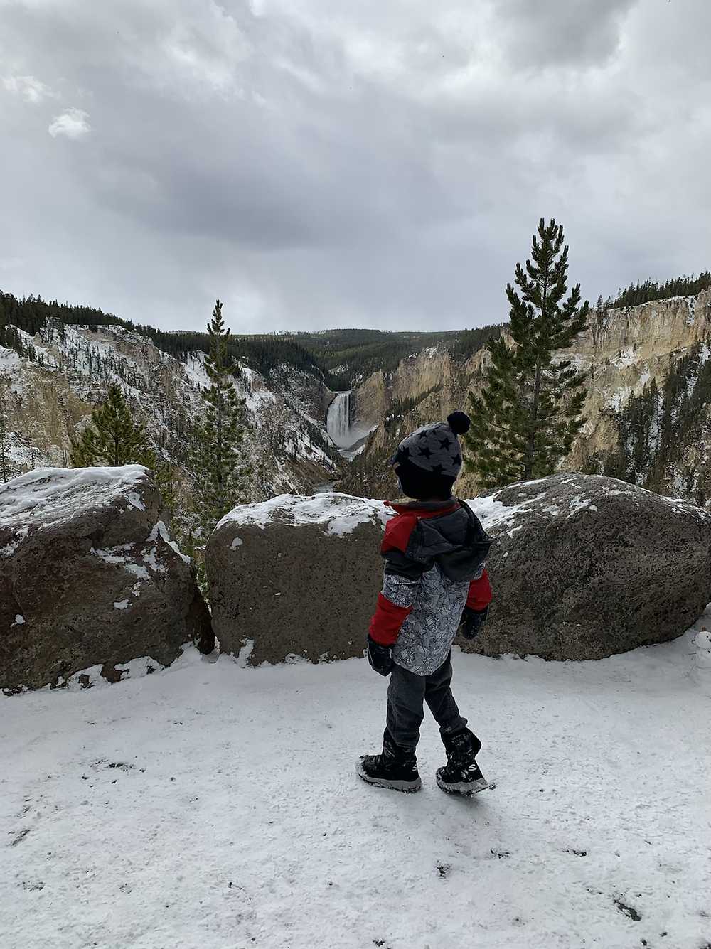 Lower Falls of the Grand Canyon of the Yellowstone, view from Artist Point, yellowstone, waterfall, toddlers, mom, road trip