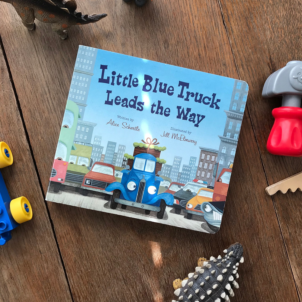 little blue truck leads the way, board, book