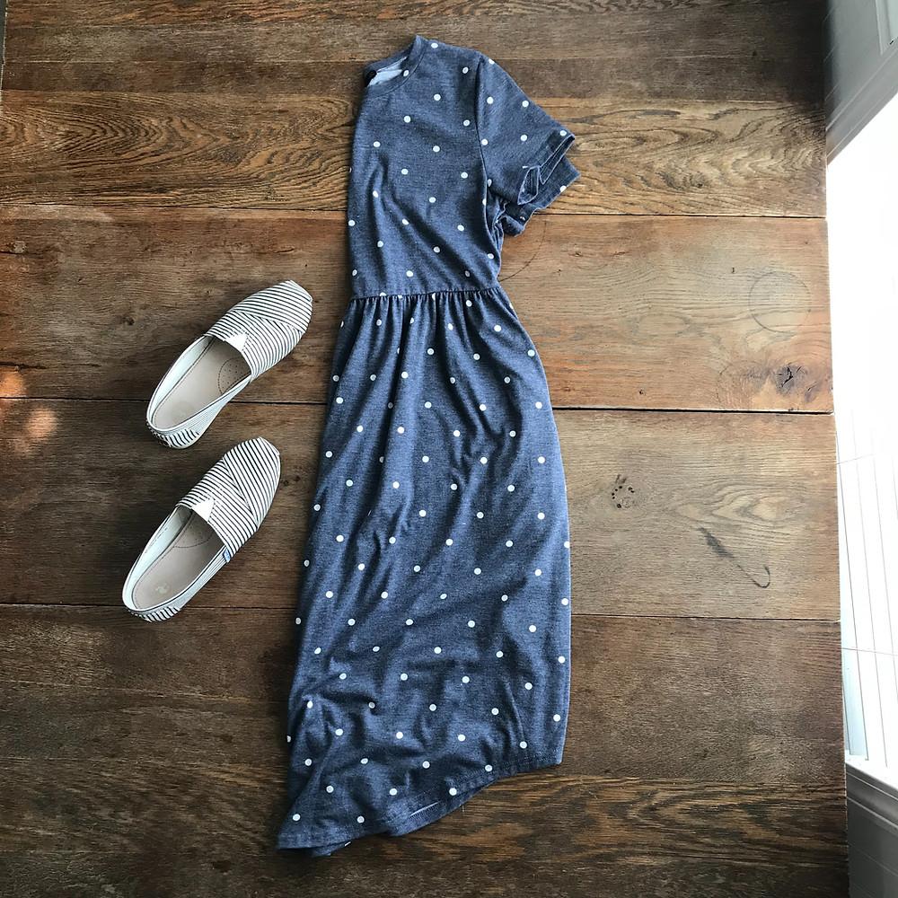 fashion finds, blue dress, polka dot dress, dress, canvas shoes, shoes