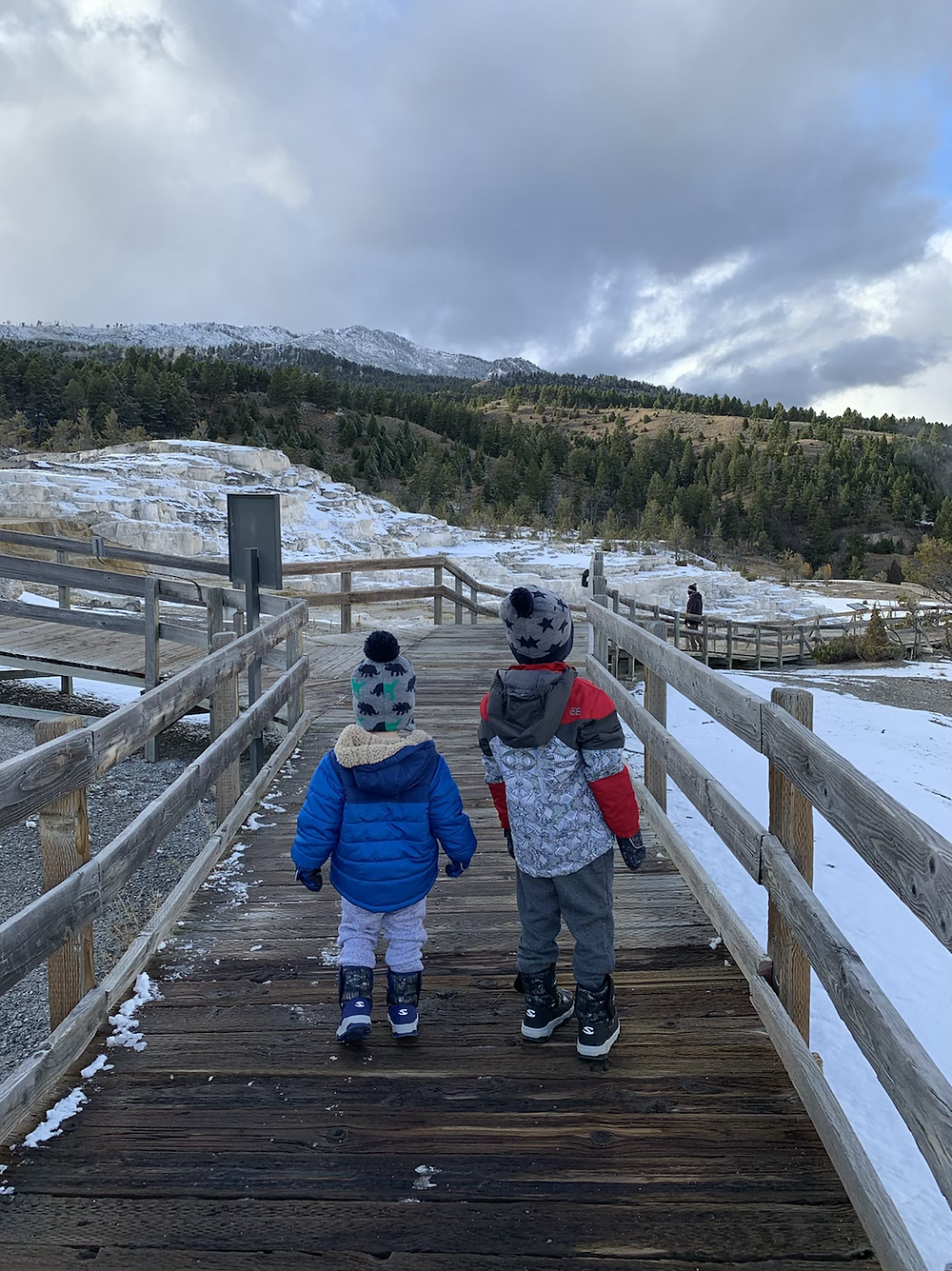 Mammoth Hot Springs, Yellowstone, mom, toddlers, road trip, wyoming