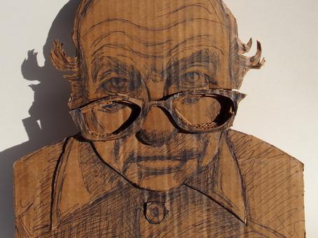 Cardboard Portrait Project Relief Sculpture
