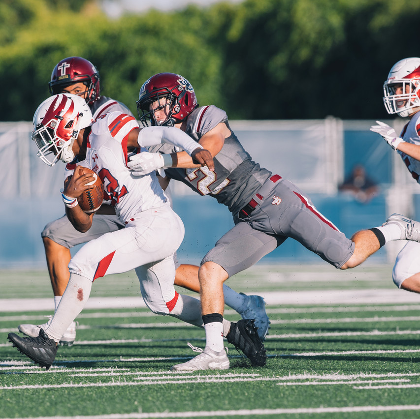 Garrett Geoghegan with the tackle