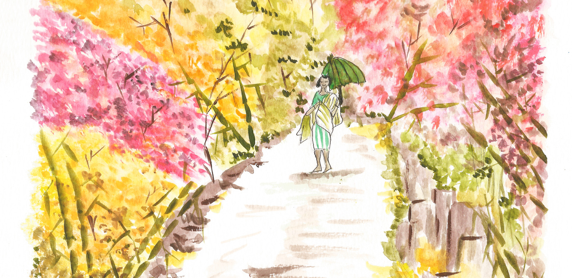 Woman walking inside the Forest