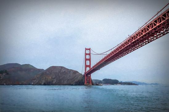 Golden Bridge under fog