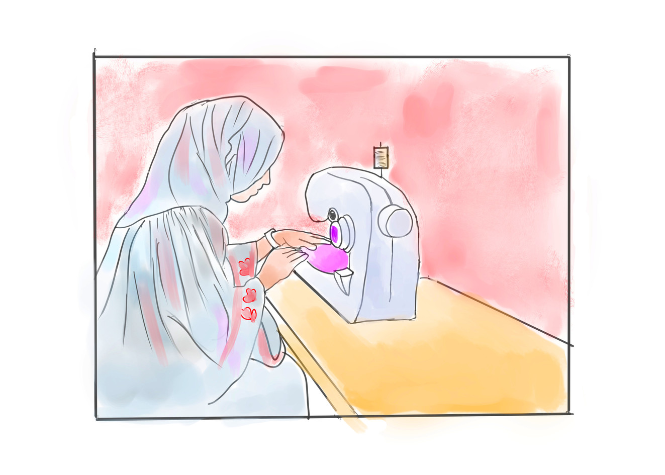 Indian Woman with sewing machine