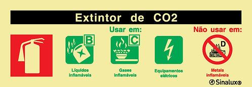 Sinal de agente de extintor co2 foto-luminescente certificado
