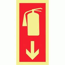 Sinal de extintor de incêndio foto-luminescente certificado vertical