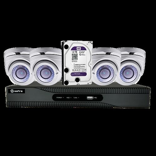 Pack completo de video vigilância pré-configurado com 4 camaras e gravação