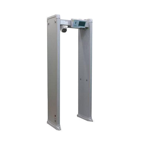 Pórtico detetor de metais e de temperatura com alarme