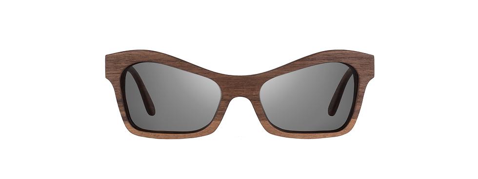 EZI walnut wood sunglasses front view