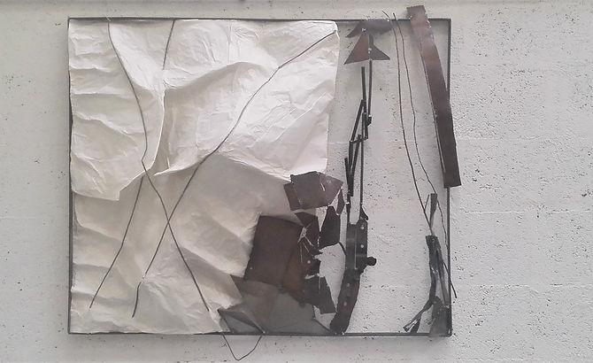 Sculpture murale mortier et métal