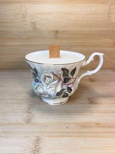 chandelle thé blanc et gingembre en tasse de fantaisie