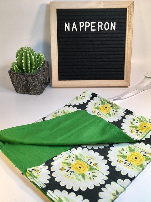 Napperon vert ,porte-ustensiles Pochette couverts réutilisable Nappe
