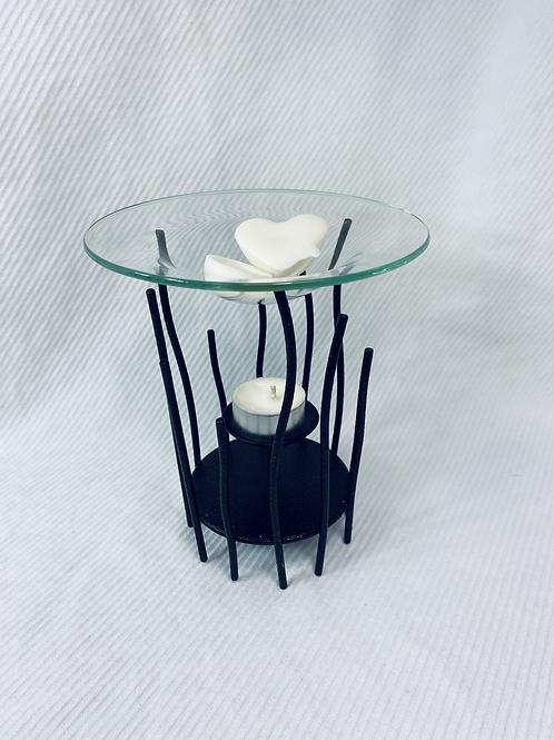 Porte-bougie à réchaud en verre