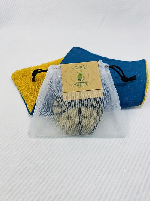 sac réutilisable  à shampoing ou savon en barre