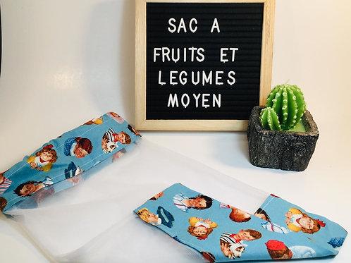 sac à fruits et légumes Moyen , sac à collation ,sac réutilisable