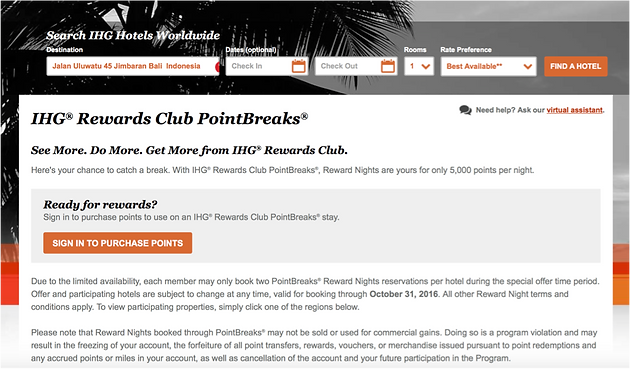 IHG Rewards Club PointBreaks 31 October 2016 – 31 January 2017