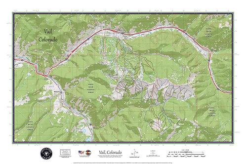 "VAIL Colorado Topographic Keepsake Poster Map (24"" x 36"")"