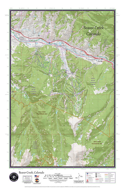 "BEAVER CREEK Colorado Topographic Keepsake Poster (24"" x 36"")"