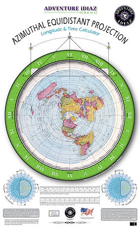 Flat Earth Map; Azimuthal Equidistant Projection of the Earth Map