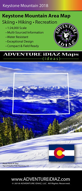Keystone Colorado Mountain Ski Area Map (Folded)