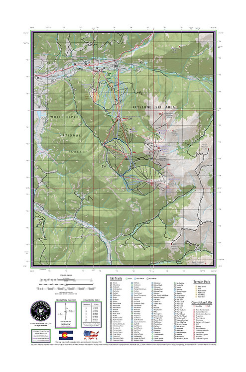 "KEYSTONE Colorado Topographic Keepsake Poster (24"" x 36"")"