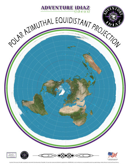 Polar Azimuthal Equidistant Projection Map of the Earth