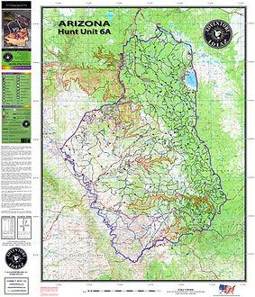 Arizona Hunt Unit 6A Map - The best topographic Arizona Hunting Unit Maps in Print!