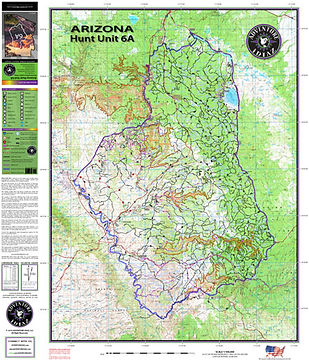 Arizona Hunt Unit 6A Map - The best topographic Arizona Hunting Unit Maps in Print!
